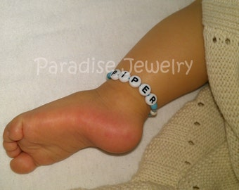 Twin Girls Personalized Name Anklet Twin ID Bracelet Newborn Size Jewelry Retro Hospital ID Twin ID Ankle Bracelet Twin Gifts
