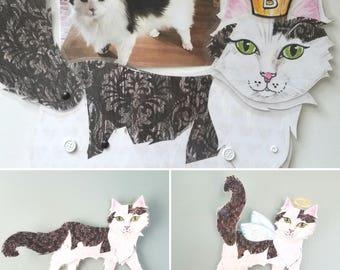 Custom Cat Portrait ~ Cat Wall Art ~ Articulated Paper Doll ~ Paper Doll ~ Cat Art  ~ Cat Portrait ~ Cat Angel ~ Movable Art  ~ Laminated