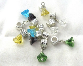 12 Assorted Color Euro Style Glass Bell Flower Dangle Charms (B159g7)