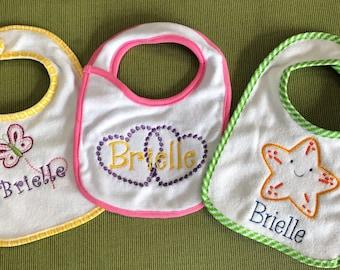 Personalized Embroidered  Baby Bibs