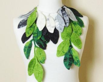 Leaf Crochet Scarf, Green Scarf, Long Leaf Necklace, Green Lariat Necklace, Lariat Scarf