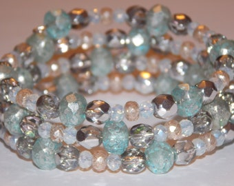 Mint Green and Peach and Sparkling Silver Czech Glass White Crystal Memory Wire Wrap Bracelet