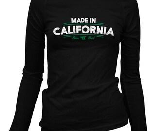 Women's Made in California V2 Long Sleeve Tee - S M L XL 2x - Ladies' California T-shirt, Los Angeles, San Francisco, San Diego - 3 Colors
