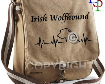 IRISH WOLFHOUND Dog Hand Bag Messenger Motif of your Choice