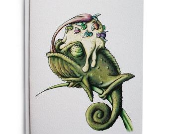 Chameleon Birthday Greeting Cards w/Envelopes {8-Pack}