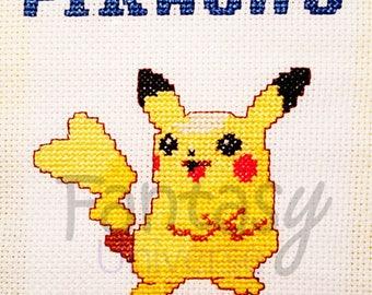 Pikachu Pokemon Cross Stitch Frame - Quadretto puntocroce Pikachu