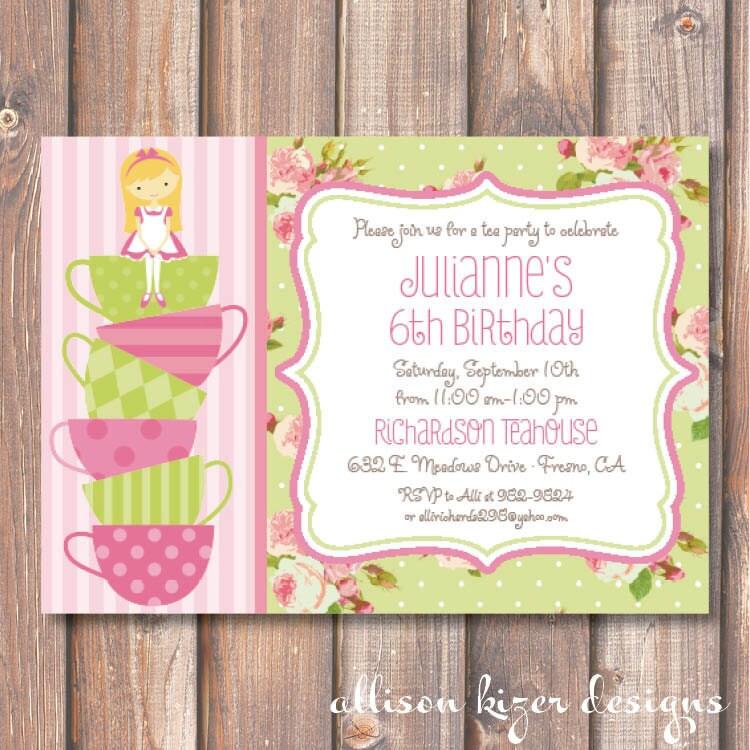 Pink and Green Tea Party Birthday Invitation English Garden