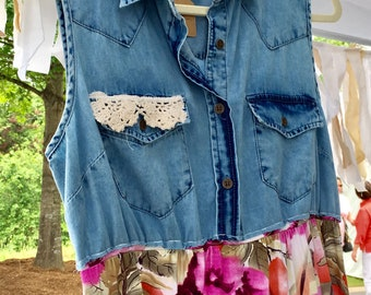 Upcycled Clothing, Upcycled Dress, Summer Dress, Womens Dress, Spring Dress, Recycled Clothing, Shabby Chic Dress