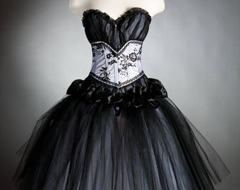 Custom size black and white Tea Length  tulle Burlesque Corset Prom dress small-XL