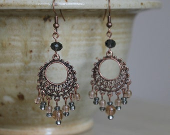 Copper Round Chandelier Drop Earrings, statement earrings, chandelier earrings, unique copper earrings, smokey topaz, november birthstone
