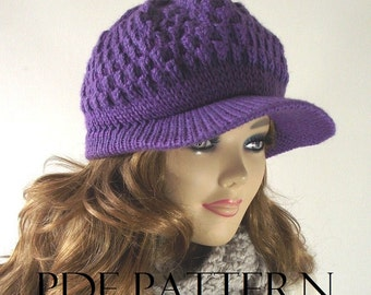 KNITTING HAT PATTERN Newsboy Hat - Claire Newsboy Hat pattern - Knitted brim cap woman girl Hat pdf Pattern with Pictures instant download