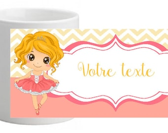 LITTLE BALLERINA UNBREAKABLE MUG PERSONALISED WITH THE TEXT OF YOUR CHOICE