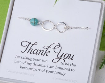 Mother in law infinity bracelet,Thank you for raising the man of my dream,gift for mother of groom,Infinity bracelet, mother's day gift