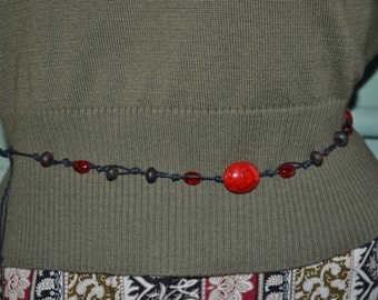Necklace, Belt or Bracelet Knotted Black Cord with Red Glass Beads & Black Wood Beads, Black Boho Beaded Belt, Boho Knotted Cord Belt