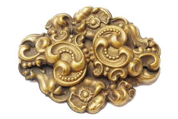 Gold Gilt  Repousse Brooch -  Art Nouveau - Floral flower Swirl - cloud - Brassy golden metal - Large Pin