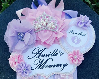Baby Girl Princess Light Pink Lavender Themed Mommy To Be Baby Shower Corsage