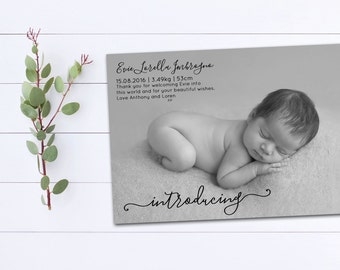 Printable Birth Announcement, The 'Evie' DIY Printable Announcement, Personalised Announcement