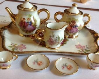 Dollhouse Miniature Limoges Tea Set
