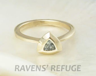 natural blue sapphire ring -- denim sapphire and 14k solid gold