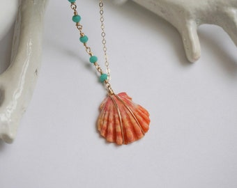 Gold filled beaded sunrise shell necklace