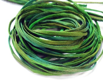 """5PC. SAND and SEA 2MM Hand Dyed Silk Jewelry Cord//5PC Hand Dyed Silk Cording 1/8"""" X 36""""//Hand Dyed Silk Jewelry Bracelet/Necklace Cording"""