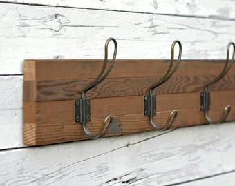 Reclaimed Wood Wall Hooks, Reclaimed Wood + Five Farmhouse Hooks