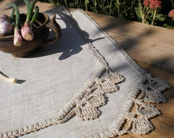 Softened gray linen table placemats Rustic table placemat Linen placemats set Natural placemats Lace table mats Kitchen placemat Wedding