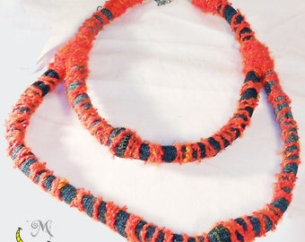 Upcycled denim clothing necklace with wool