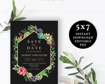 Black and Gold Flower Save the Date Template, 5x7, Instant Download Printable, Editable PDF, EWSD005