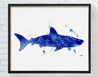 Shark Art, Shark Print, Shark Watercolor, Shark Wall Decor, Coastal Wall Decor, Sea Life Art, Ocean Art, Beach Wall Art, Bathroom Decor