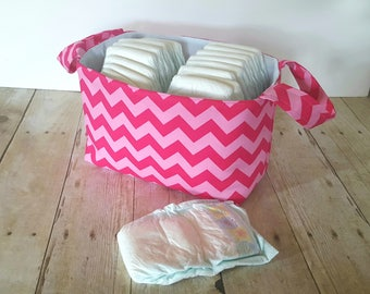 Pink Tonal Diaper Caddy - Fabric Storage Basket - Toy Storage