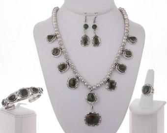 Green Turquoise Necklace Set Earrings Ring Bracelet
