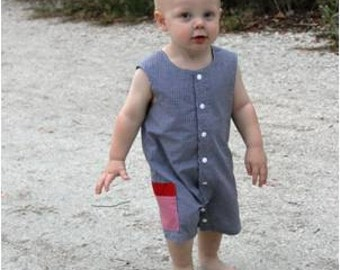 Baby Boy Snap Outfit, Toddler Boy Romper, Jon Jon PDF Pattern, One Piece Romper, Boy's Clothing, Easy Sewing Pattern