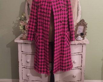 Pink Checkered Coat, Green Houndstooth Coat, Vintage Wool Coat, S-SM, 60s Vintage Coat, Double Breasted Coat, Nubby Boucle Coat, Womens Coat