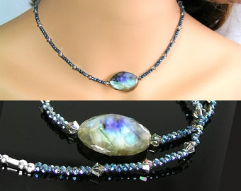 Natural Labradorite Choker Necklace, Swarovski Crystal, Sterling Silver, Raw Labradorite Pendant, Green Blue Gemstone, Labradorite Necklace