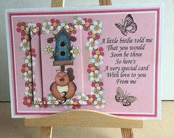 Age 3 birthday card,a little bird told me, butterflies and birds ,cute verse