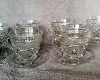Vintage Anchor Hocking Wexford Cups and Saucers- Set of 7