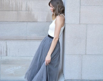 Gray Tulle Skirt Tutu Skirt Womens Custom Skirt Tulle by breauxsews Layered Tulle Skirt Bridesmaid Dress Tulle Midi Skirt Tutu