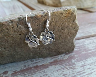 Stamped dragonfly charm earrings - silver - kids earrings - girls jewelry - womens jewelry -dragonflies
