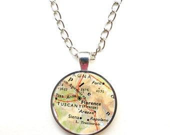 Collana con pendente mappa della tua città-collana personalizzata-collna mappa-collana Firenze-gioielli-regalo per lei-NATURA PICTA-NPNK042