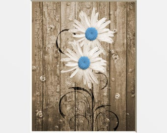 Brown Blue Rusticc Bathroom Decor, Daisy Flowers, Country Decor, Farmhouse Bathroom, Brown Bluw Home Decor Wall Art