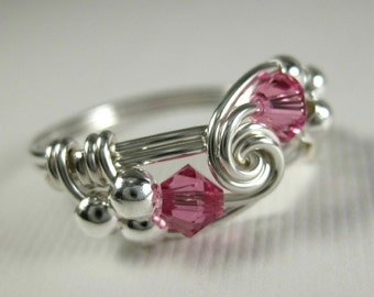 Pink Ring Wire Wrapped Rose Zircon and Sterling Silver Duet -- Any Size -- All Birthstones and Other Colors Available