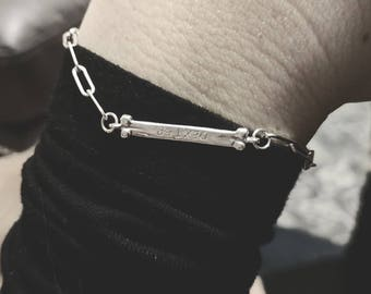 TLB Bracelet with rectangular link chain in sterling silver