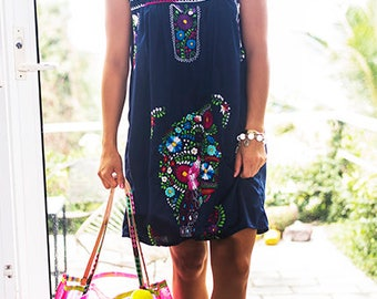 SALE Mexican Embroidered Dress Navy Blue