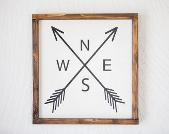 NSEW- Compass - Wood Sign