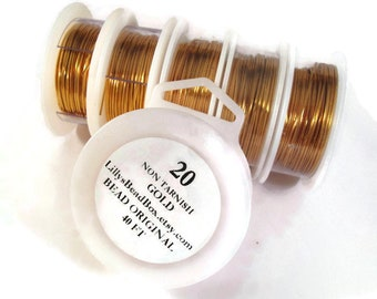 XL Spool - Gold Plated Wire - 20 Gauge - 40 Feet -  Round Wire for Making Jewelry, Non Tarnish Wire, Wire Wrapping Supplies