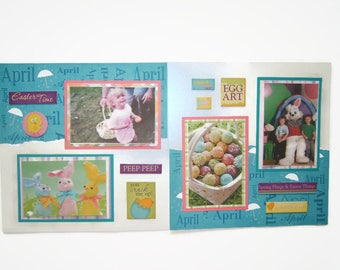 Easter Scrapbooking - Premade Easter Scrapbook Pages - Easter Layout - Easter Pages - Easter Scrapbook Pages - Easter Scrapbook Layouts