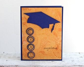 Blue and Yellow Graduation Card, Congratulations Grad, College and High School Graduation, Blue Graduation Cap, Handmade Notecard