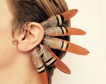 No 3. Feather ear cuff - copper, natural colors