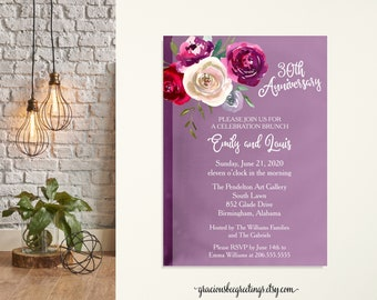 Purple Flower Anniversary Party Invitation, 30th Anniversary Invitation, Wedding Invitation, Post Wedding Invite, Eloped Post Wedding